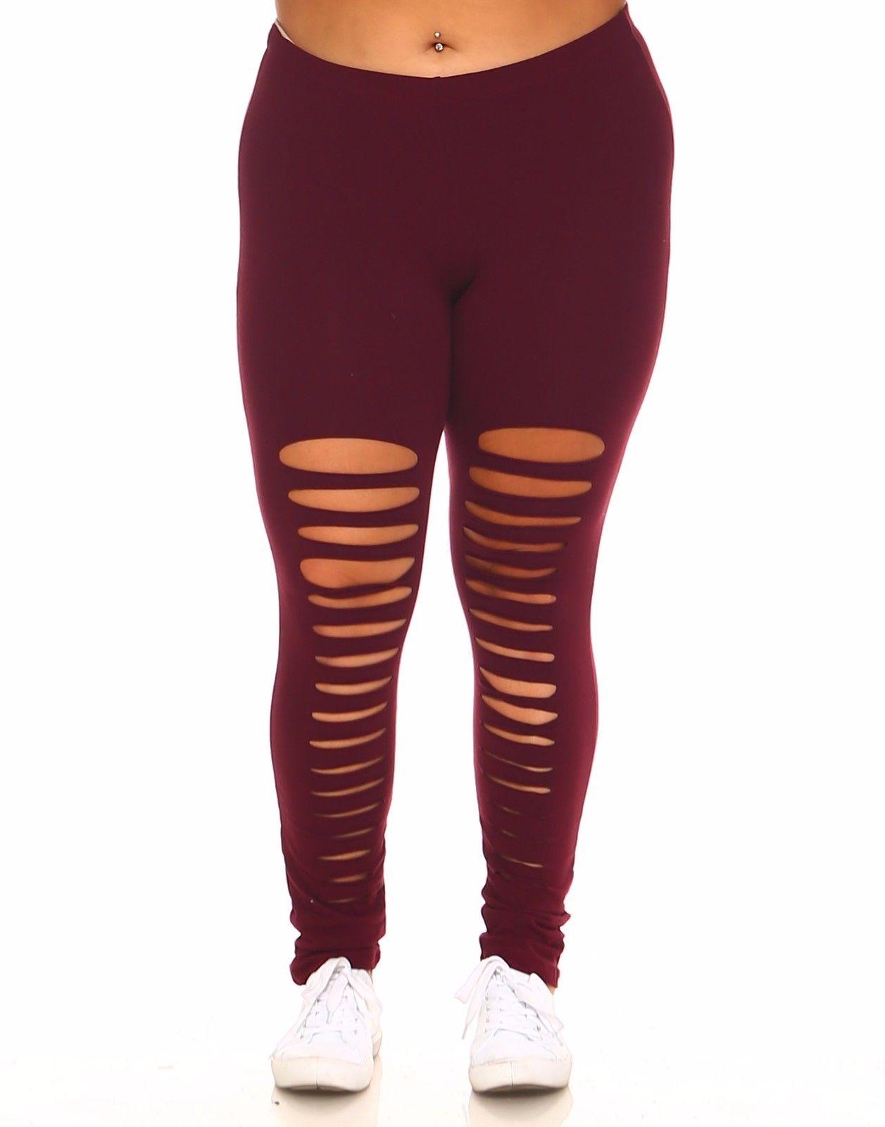 Womens Plus Solid Slashed Ripped Cotton Full Legging XP1015B-XL-Black