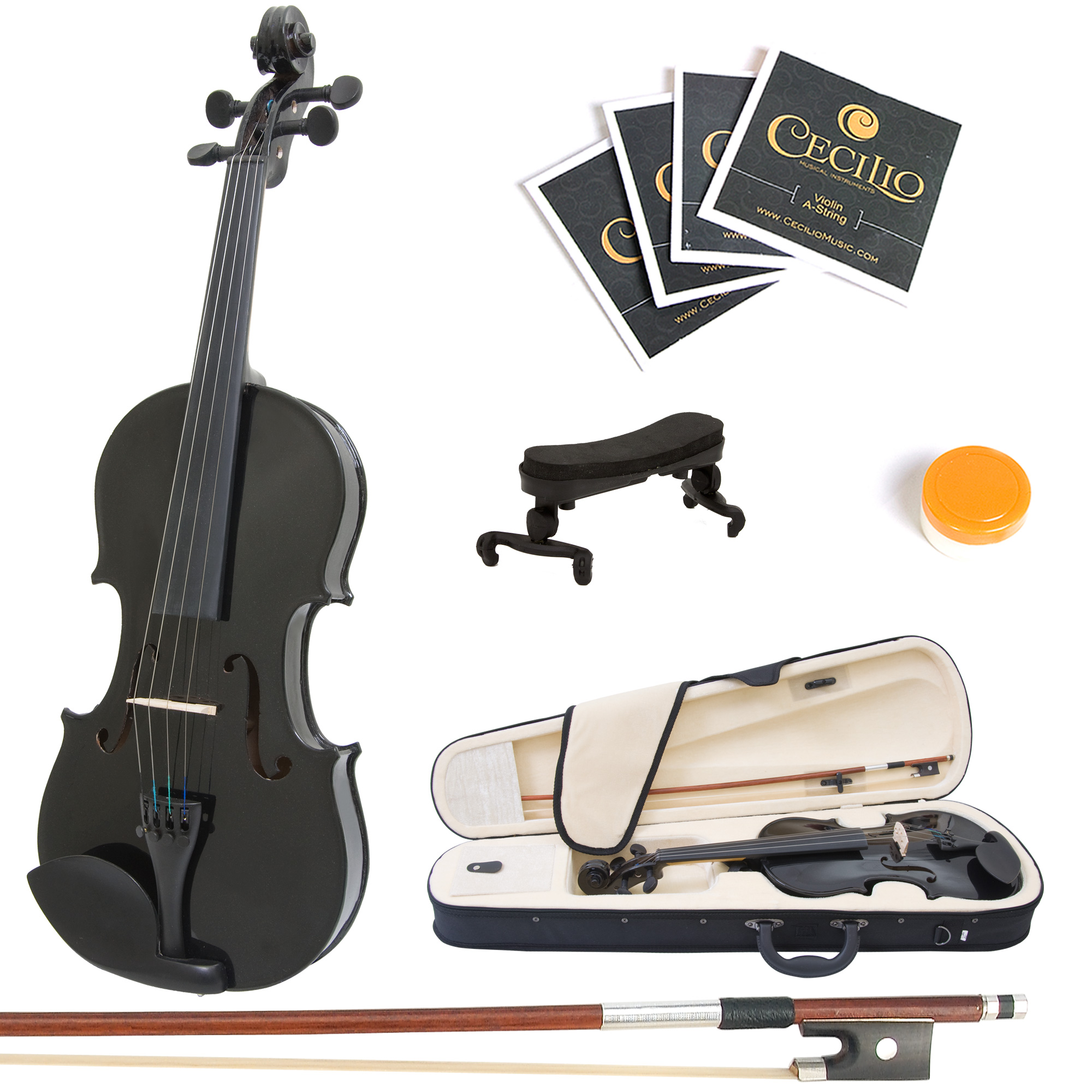 Mendini by Cecilio Full Size 4/4 MV-Black Handcrafted Solid Wood Violin Pack with 1 Year Warranty, Shoulder Rest, Bow, Rosin, Extra Set Strings, 2 Bridges & Case, Metallic Black