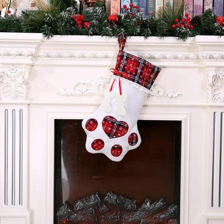CARLTON GLOBAL Plaid Christmas Gift Bags Pet Dog Cat Paw Stocking Socks Xmas Tree Ornaments ()