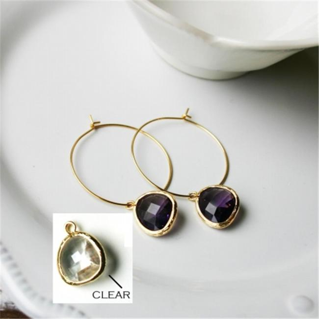 Rebecca HLSGC Hoop Stone - Gold-Clear