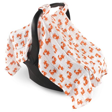 Hudson Baby Boy and Girl Muslin Car Seat Canopy Cover - Foxes
