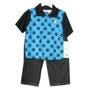 Little Boys Black Blue Plaid Polo Shirt Denim 2 Pc Pants Set 2T-4T