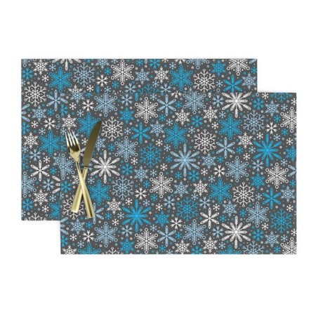 Cloth Placemats Snowflake Winter Decor Christmas Holiday Weather Set of 2