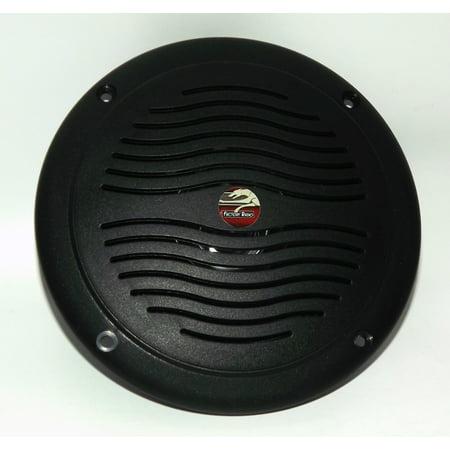 "5"" Black Dual Cone Waterproof Marine Speaker - Round Integral Grill Spa RV Boat"