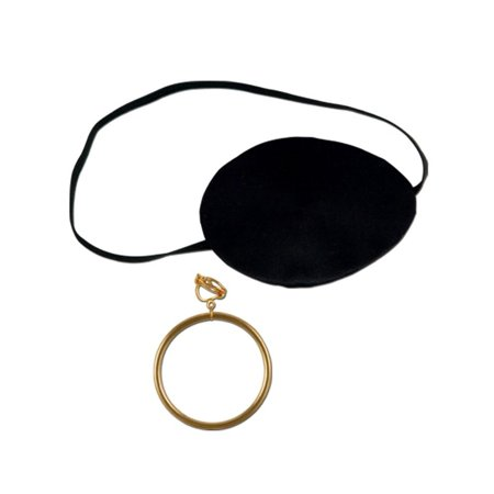 Pirate Eye Patch with Plastic Gold Earring