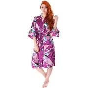 Women s Kimono Robes Peacock Blossoms Silk Satin Long Nightgown Sleepwear 79de6cd1b
