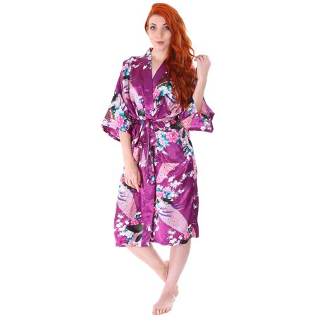 Simplicity Luxurious Kimono Robe in Silky Peacock Floral Print.Pockets, Purple (Boxer In Robe)