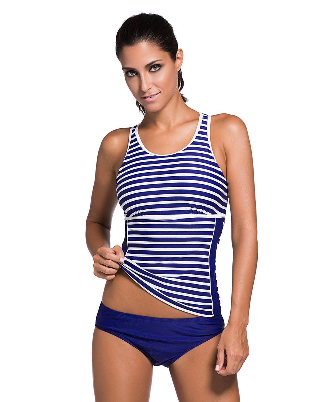 HDE Racerback Tankini Women's Striped Two Piece Bathing Suit Open Back Swimsuit