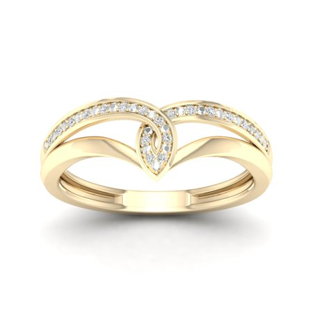 10k Yellow Gold 0.05CT Natural Round Cut Diamond Engagement Wedding Ring Size -