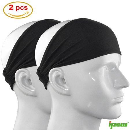 "IPOW Men & Women 4"" Moisture Wicking Sport Headband Elastic Head Wrap for Running, Crossfit, Workout, Tennis, Basktball, 2 Pack"