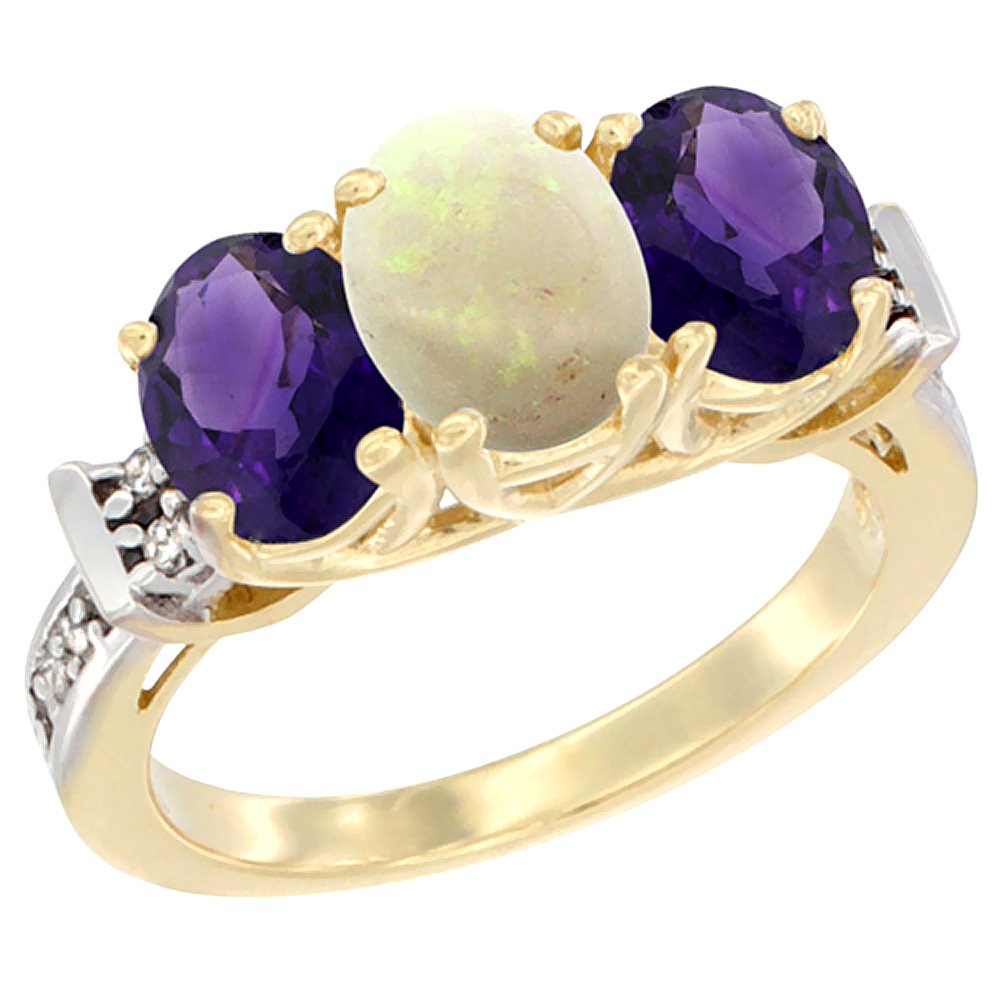 10K Yellow Gold Natural Opal & Amethyst Sides Ring 3-Stone Oval Diamond Accent, sizes 5 10 by WorldJewels