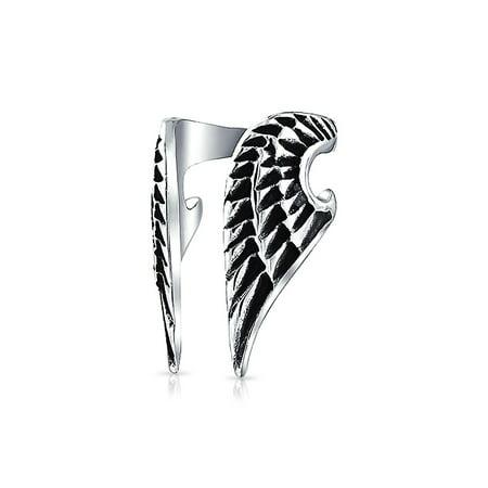 Guardian Angel Wing Feather Cartilage Ear Lobe Helix Earring Warp Ear Cuff Clip Unisex Black Oxidized Stainless