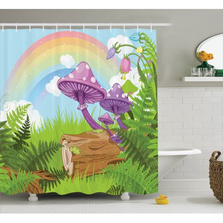 Mushroom Decor Shower Curtain Set, Fantastic Scenery With Wood Timber On The Grass And Rainbow Fungus Herbs Leaves Weed Artwork, Bathroom Accessories, 69W X 70L Inches, By Ambesonne