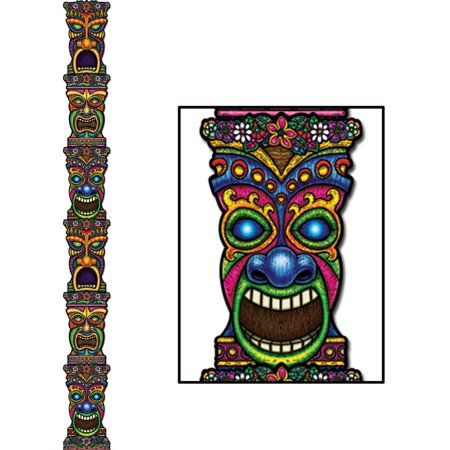 Club Pack of 12 Jointed Tropical Island Theme Tiki Totem Pole Party Decorations 7'