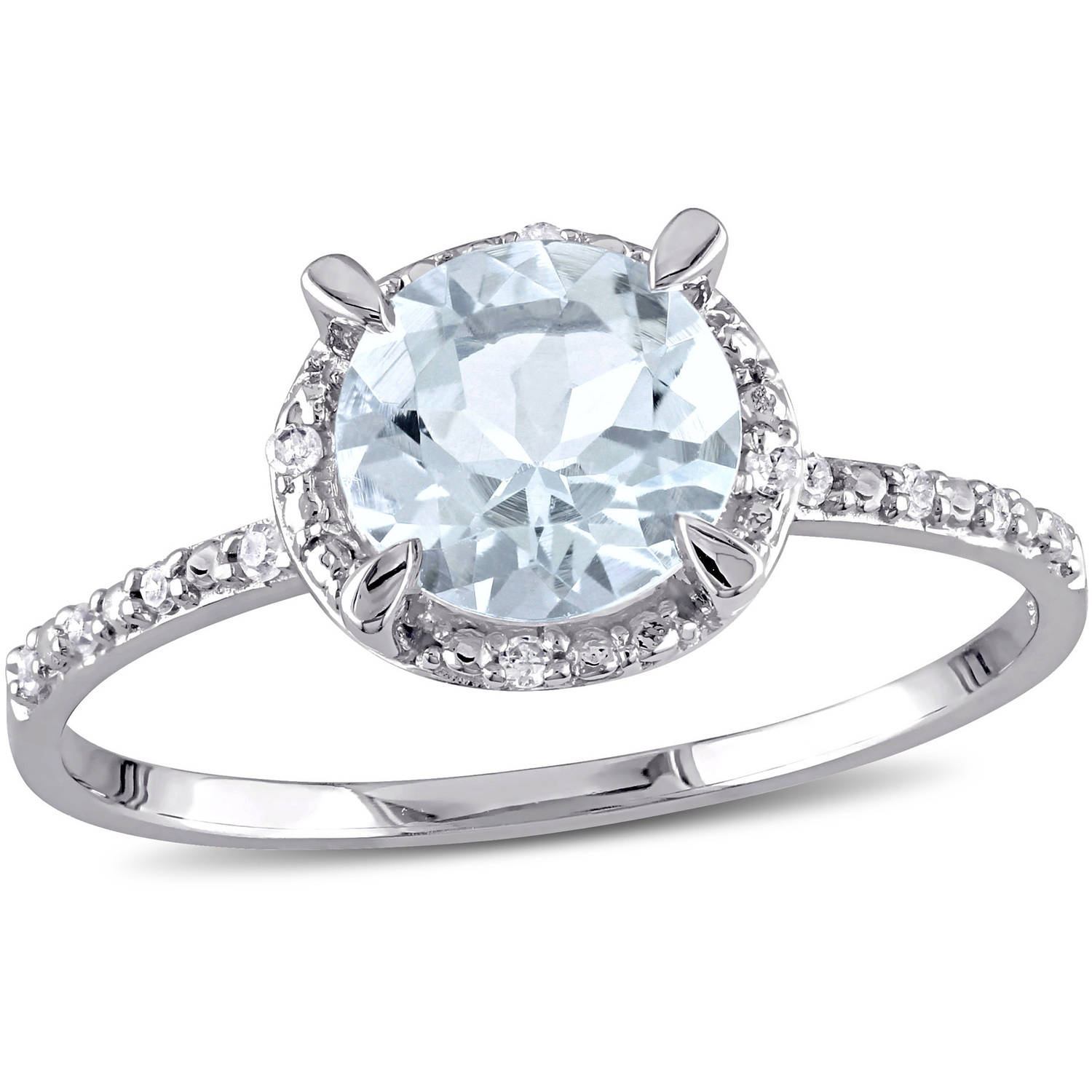 Tangelo 1-1 7 Carat T.G.W. Aquamarine and Diamond-Accent 10kt White Gold Halo Cocktail Ring by Tangelo
