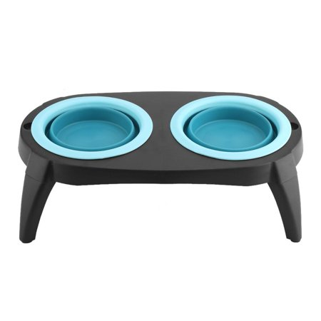 WALFRONT Collapsible Silicone Food Water Travel Bowl Foldable Expandable Cup Dish for Pet Dog Cat Portable Travel Bowl Elevated Pet Feeder Raised Dog Bowls Blue/Pink