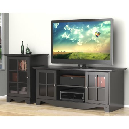 Pinnacle 56-inch TV Stand with an 1-Door Audio Tower-Finish:Black
