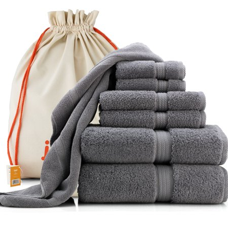joluzzy Luxury Towel Set - 100% Long-Staple Turkish Cotton - High Absorbent 700 GSM - Soft & Plush - Hotel Quality - 2 Bath Towels, 2 Hand Towels, 2 Face Towels, 1 Floor Mat, 7-Pic Steel-Blue/Gray ()