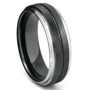 Titanium Kay Black Tungsten Carbide Chevron Comfort Fit Mens Wedding Band Ring Sz 10.0