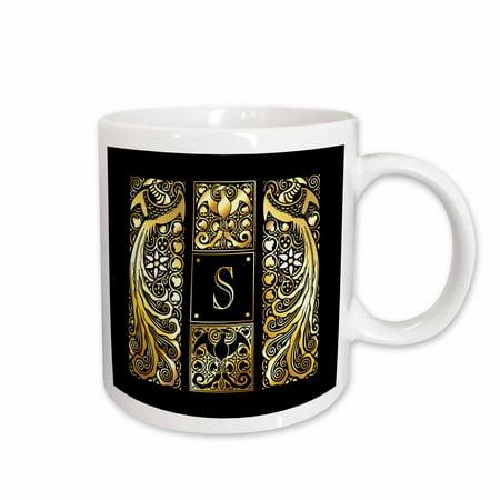 3dRose Image of Art Nouveau Peacocks- Monogram Letter S- not foil embossed - Ceramic Mug, 11-ounce