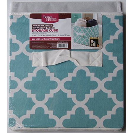 Better Homes And Gardens Collapsible Fabric Storage Cube Turquoise Trellis