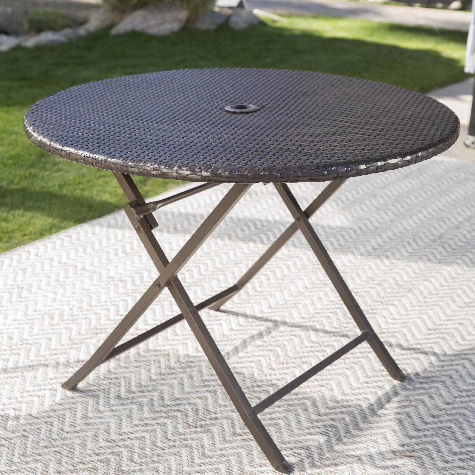 Coral Coast Berea Outdoor Wicker Folding Cafe Table by
