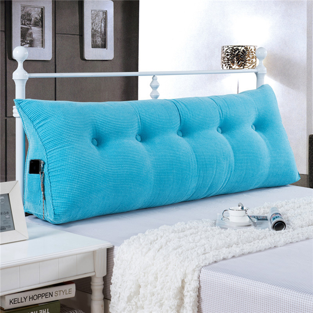 Sofa Bed Large Filled Triangular Wedge Cushion Bed Backrest Positioning Support Pillow Reading Pillow Office Lumbar Pad with Removable Cover Sky Blue 71 Inches