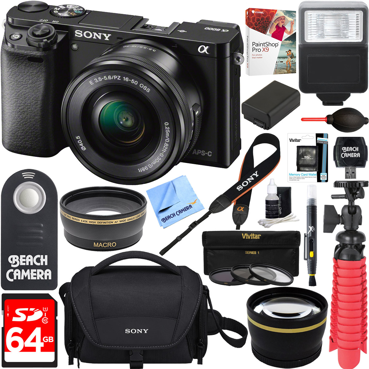 Sony Alpha a6000 ***FREE 2 DAY SHIPPING*** Mirrorless Digital Sony Alpha a6000 Camera 24.3MP Wi-Fi 16-50mm Lens Kit Black 64GB Bundle DSLR Photo Bag Extra Battery+Wide Angle Lens+2x Telephoto Lens