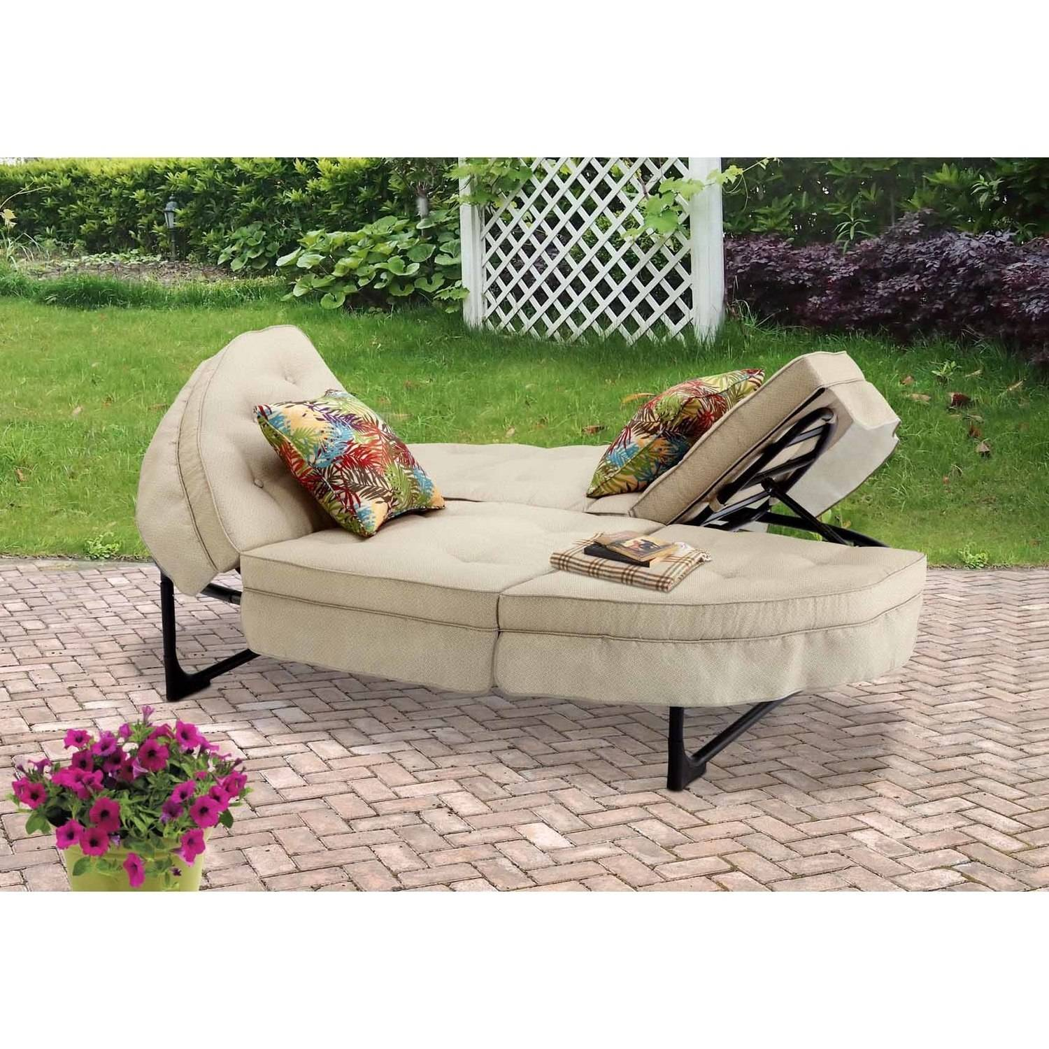 Mainstays Orbit Chaise Lounger, Tan, Seats 2