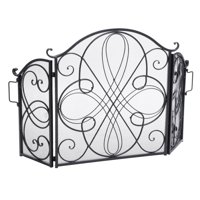 Kingsford Fireplace Screen, Silver on Black