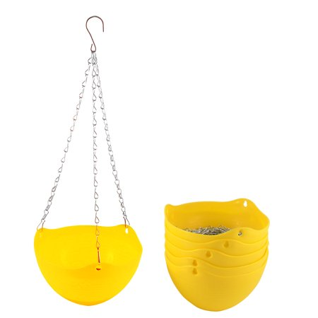 6pcs Yellow Plastic Hanging Flower Pot Plant Planter Basket Home Garden Decor