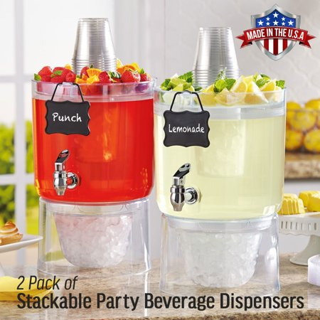 Cold Beverage Drink Dispenser with Hanging Chalkboard Label, Set of 2 - Party Drink Dispenser