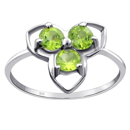 Orchid Setting (Sterling Silver Ring For Women | August Birthstone Ring | 0.9 Carat Green Peridot 3 Stone Prong Setting Wedding Ring by Orchid Jewelry | Simple. Beautiful.)