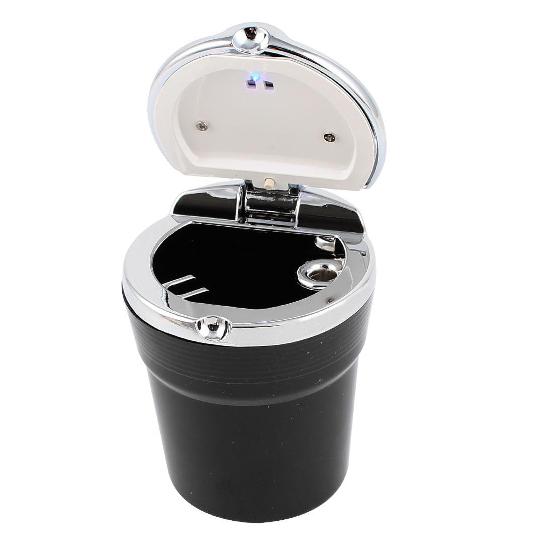 Portable Smokeless Ashtray for Car Auto, with Blue  Light, Black