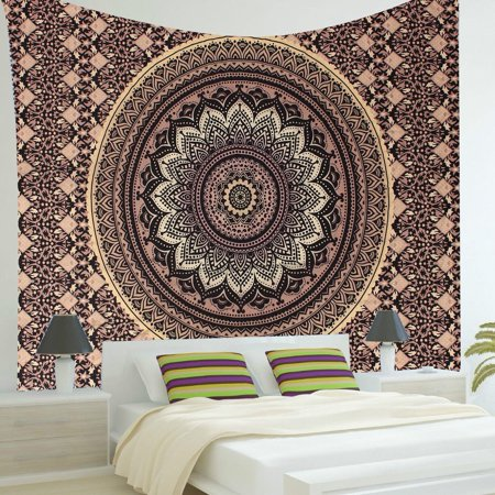 57''x57'' Indian Ombre Mandala Hippie Gold Black Wall Hanging Tapestry Bedspread Decor (Hippie Decor Stores)