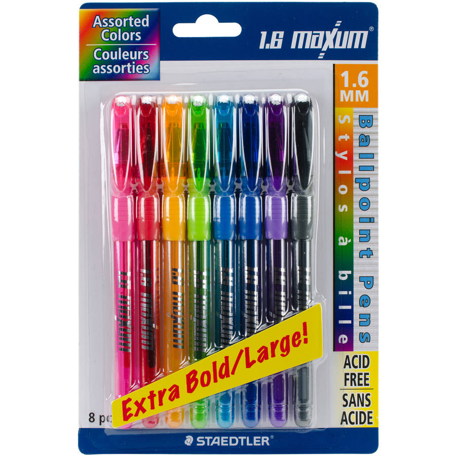 Ballpoint Pens, 1.6mm, 8pk, Assorted