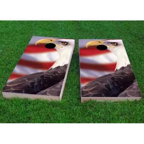 Custom Cornhole Boards Patriotic Bald Eagle Cornhole Game (Set of 2) by Custom Cornhole Boards