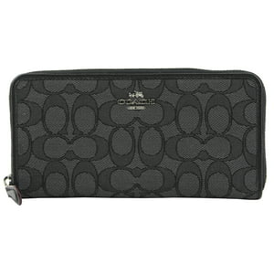Coach Accordion Zip Wallet in Outline Signature (Black Smoke|Black)