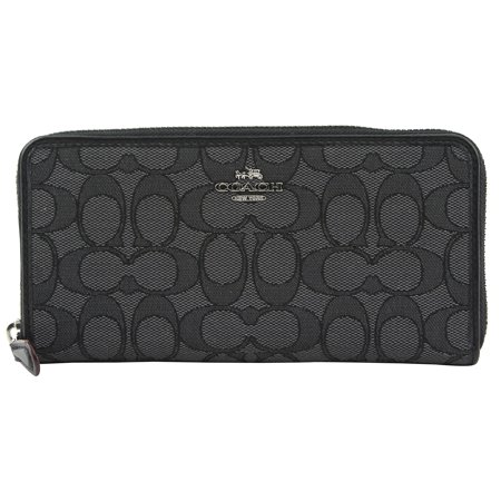 Coach Accordion Zip Wallet in Outline Signature (Black