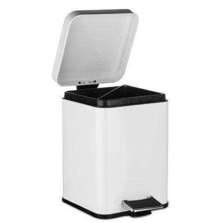 AMG Rectangular Waste Bin 5L Garbage Trash Can with Step Foot Pedal in (White Pedal Bin)