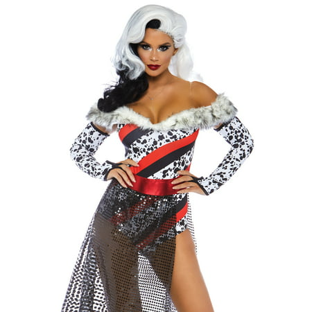 Leg Avenue Women's 3 PC Dalmatian Dame Cruella Costume, Multi, Medium