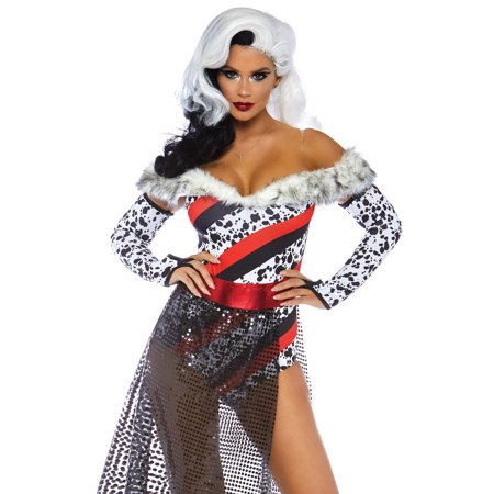 Leg Avenue Women's 3 PC Dalmatian Dame Cruella Costume, Multi, Medium for $<!---->