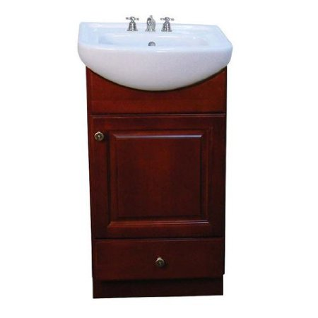 Diamond Fixtures CT1815W-PE1612DC Bathroom Vanity Set with White China Top Bathroom Sink and Petite