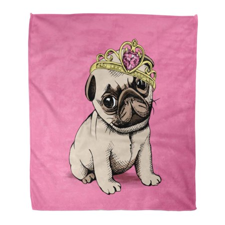 Jsdart 58x80 Inch Super Soft Throw Blanket Brown Pug Puppy Chihuahua In Princess Crown On Pink Dog Queen Cute Girl Pet Luxury Home Decorative Flannel Velvet Plush Blanket Walmart Canada