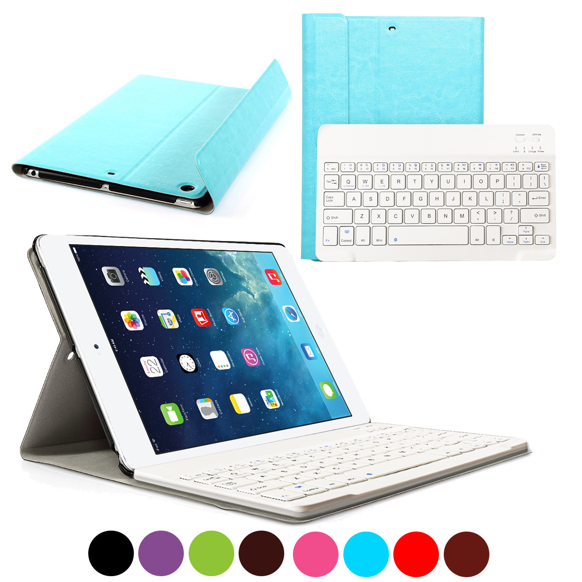 CoastaCloud Removeable Keyboard FOR Apple NEW iPad 2017 Wireless Bluetooth Keyboard 9.7 inch with Stand Folio Case Cover for iPad Air 1/ iPad 5 Rechargeable USB Cable PU Leather