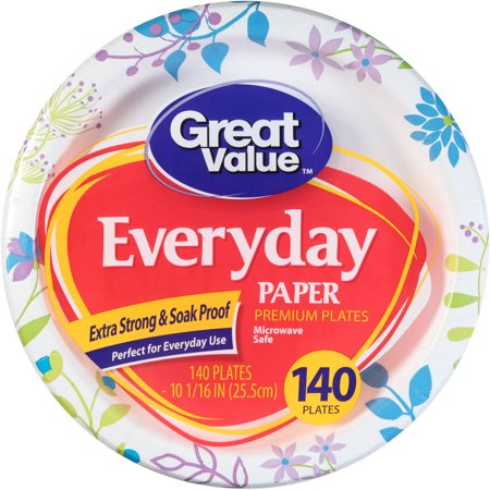 "Great Value Everyday Premium Paper Plates, 10 1/16"", 140 Count"