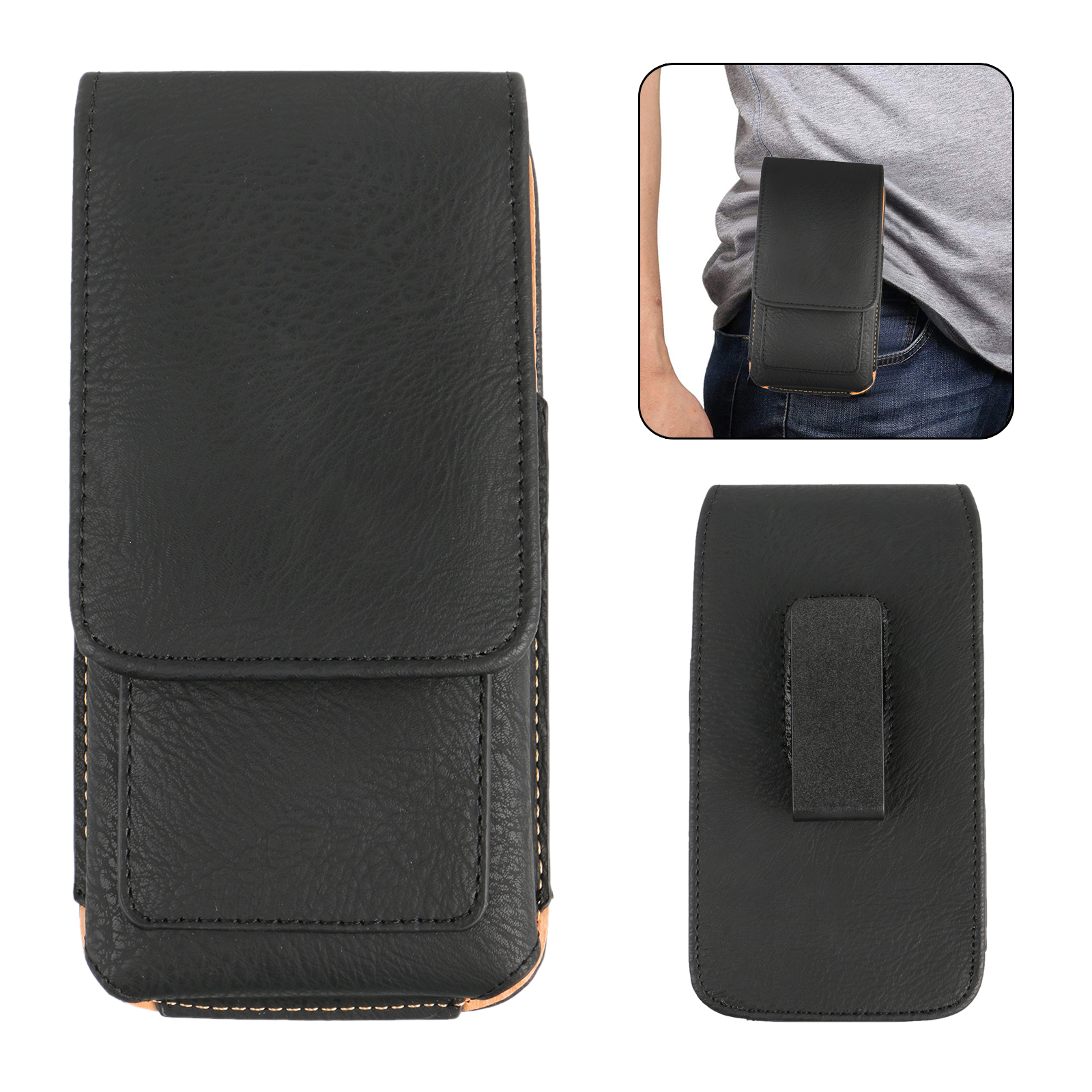 "Cell Phones Vertical Leather Case Pouch Cover Belt Clip Holster with Card Holder for 5.3""/5.5"" Universal Phones"