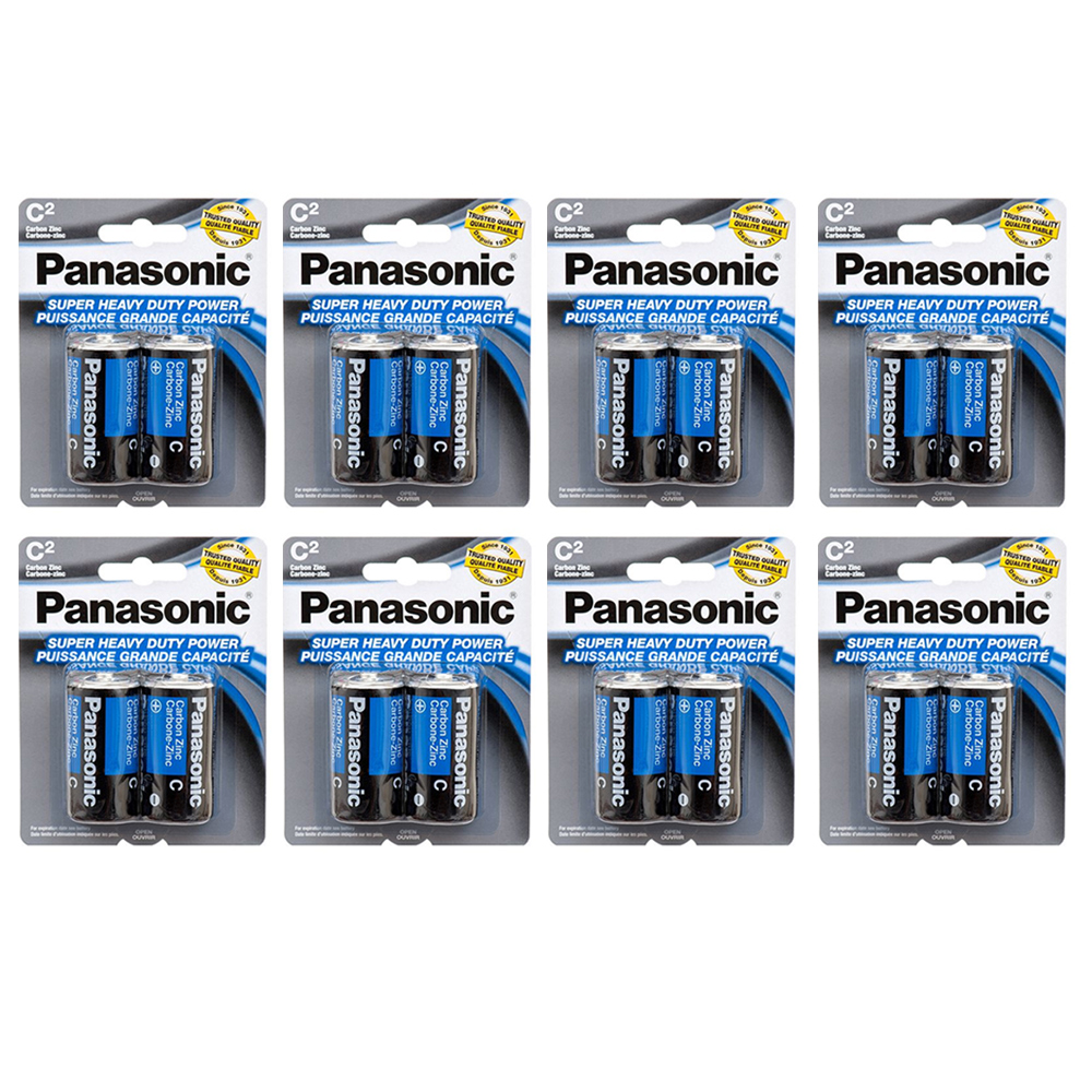 16 X Panasonic C Batteries Super Heavy Duty Carbon Zinc Battery 1.5V EXP. 2022