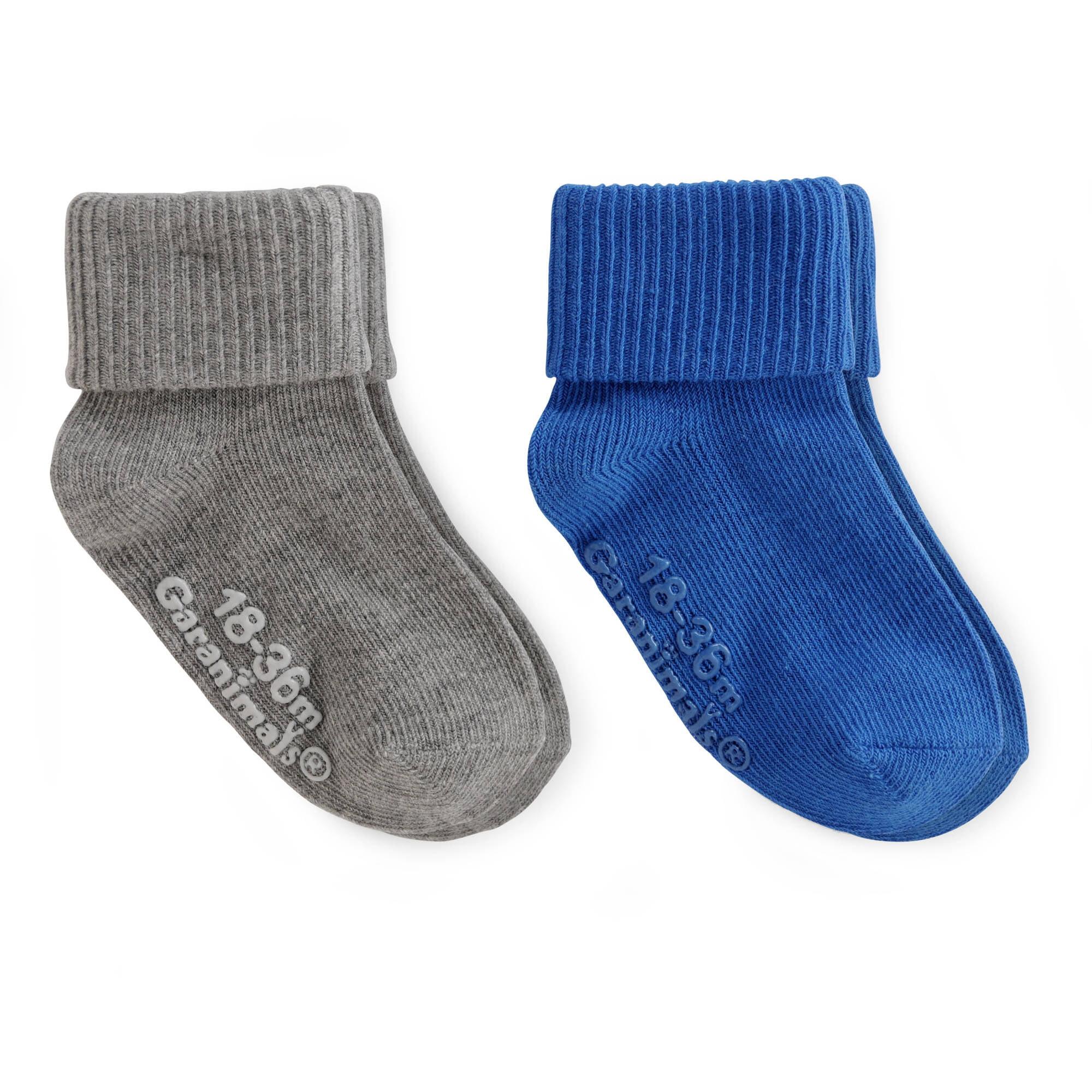 Garanimals Baby Toddler Boy Grey Blue Gripper Socks Ages NB-5T, 2-Pack