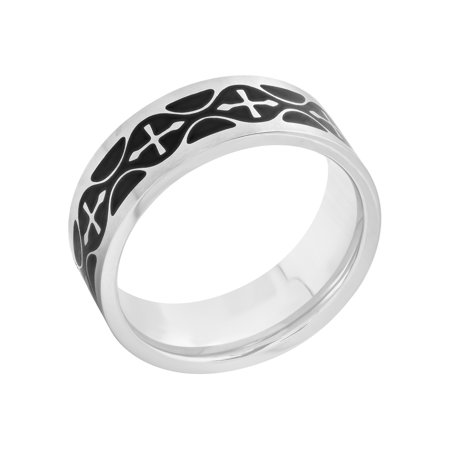 Men's Stainless Steel Two-Tone Cross Pattern Wedding Band - Mens Ring